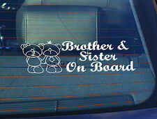 Static Cling Window Car Sign/Decal Brother & Sister on Board 100 x 250mm Stamfa