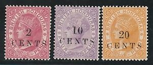 BRITISH HONDURAS 1888 QV SMALL OVERPRINT 2C 10C 20C NO GUM