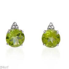 Peridot and Genuine Diamond Stud Earrings, 4.30CTW, Designed in 10K White Gold