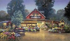 Paul Landry EVENING AT THE FLOWER MARKET LE GICLEE CANVAS HAND ENHANCED sold out