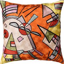 "Kandinsky Orange Abstract Throw Pillow Cover Handembroidered Art Silk 18""x18"""