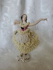 Vintage German Dresden Porcelain Lace Ballerina Figurine in Yellow OUTSTANDING