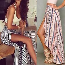 Women's Summer Sheer Floral Print Chiffon Long Maxi Skirts Split Wrap Sun Dress