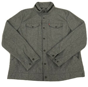 NWOT Levi Strauss Large Gray Zip Up Jacket Fleece Lined Pockets Button Snaps