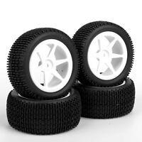 4pcs set RC Buggy Car 1/10 Off-Road Front & Rear Tyre Rubber Tires Wheels Rims