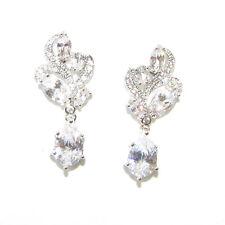 Bridal High Quality Cubic Zircon Earrings Teardrop Stud Silver 1920s Vtg 1232