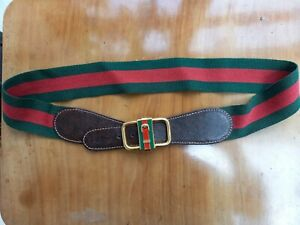Vintage Rare Gucci Belt Red And Green Canvas Webbing