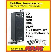 MOBILE DJ PA KARAOKE PARTY SOUND MUSIK ANLAGE 400W LAUTSPRECHER 2x MIKRO MP3 USB