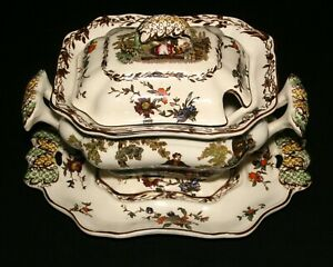 "RARE MASON'S, ""MULTI-COLORED WATTEAU"" CHINA, 4 PIECE SAUCE TUREEN SET, EXC COND!"