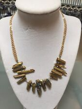 NWOT Gold Iridescent Raw Stone Statement Necklace