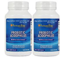 2X Puritan's Pride Nature's Promise Probiotic Acidophilus Total 200 Capsules