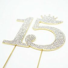 Gold 15th Birthday Quinceanera 15 Crown Cake Topper Rhinestone Party Supplies
