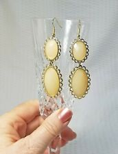 and Gold Tone Dangle Earrings Double Beige Faceted Acrylic Gem Tile