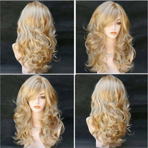 Ladies Blonde Long Curly Wigs Women Natural Wavy Synthetic Hair Cosplay Full Wig