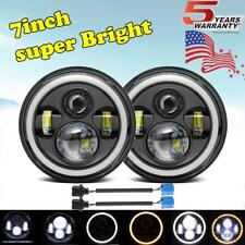 7Inch Round LED Headlights Halo Angle Eyes For Jeep Wrangler JK LJ TJ CJ Rubicon