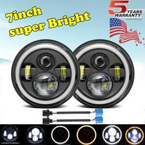 7Inch Round LED Headlights  Angle Eyes For Jeep Wrangler JK LJ TJ CJ Rubicon
