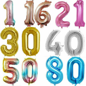 Giant Foil Number Balloons Self Inflating 1/13/16/17/18/21/30 Age Birthday Decor