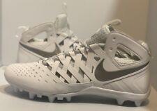 Nike Huarache V 5 Lax Football Lacrosse Cleats White/Silver 807142-100 Sz 13
