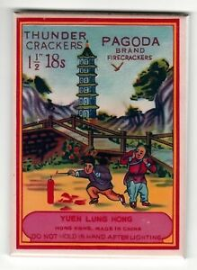 """Firecracker Collectable Pagoda Label Laminated Fridge Magnet 2.5x3.5"""" Glossy"""