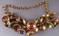 Vintage Haskell Brass Book Chain Bell Necklace Glass Dangle Beads Stacked 1930s