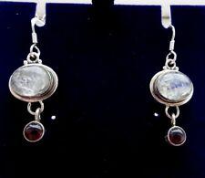 Dangley Sterling Silver, Rainbow Moonstone & Garnet Ear Rings