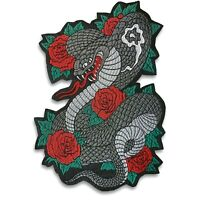 Large 16 inch Cobra and roses patch, iron on or sew on, shipped from USA