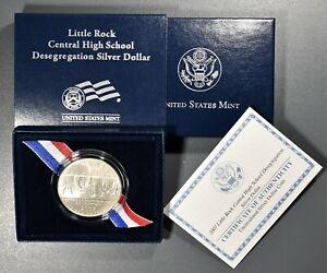 2007-P $1 LITTLE ROCK CENTRAL H.S. DESEGREGATION SILVER DOLLAR, IN OMP, SKU-2464