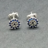Sterling Silver / Rose Gold Evil Eye Stud Earrings Mati Nazar Cubic Zirconia CZ