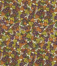 1.08 Yds.  Cotton Fabric Printed with Purple Grapes, Green & Golden Leaves