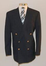 Mens 43Tall Polo University Club Blue Wool Double Breasted Blazer w/Gold Buttons