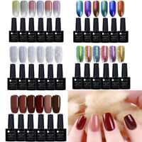 6Flaschen Glitzer UV Gel Nagellack Kit Soak Off Top Coat Gel Lack Maniküre 7.5ml