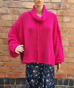 New Free People Be Yours Pullover Funnel Jumper Red Size Small Boho Slouchy Boxy