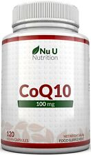 CoQ10 100mg, 120 Coenzyme Q10 Capsules UK Made 100% MONEY BACK Nu U Nutrition