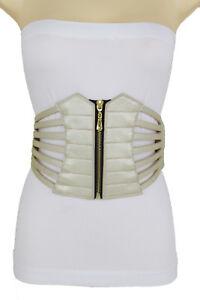 Women Belt Wide Elastic Hip High Waist Light Gold Champagne Corset Belt Size M L