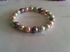 Muilti-Color Glass Pearl Bracelet With Daisy Shape Beads