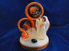 New CLEVELAND BROWNS Wedding Caketopper with Bride & Groom