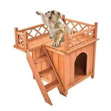 New listing Wooden Small Dog House Cat Room indoor Puppy Bed w/ Stairs Shelter Balcony Bed