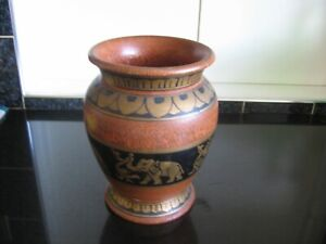 Large Brown and Black Coloured Wooden Vase Decorated with Gold Elephants
