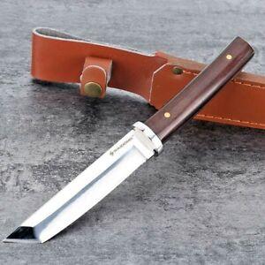 Tanto Knife Mini Katana Fixed Blade Hunting Survival Tactical Combat Wood Handle