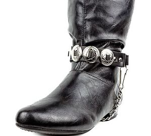 Round Concho Leather Boot Strap with Chain Bikers Retro Punk Goth Cowboy Style