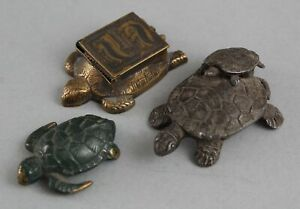 3 Antique Miniature Bronze Painted Sea Turtle, Stamp Box & Chinese Iron