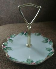 Lefton China Holly & Berries Handled Candy Dish Ne2094