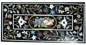 "48"" x 24"" Marble Table Top  Semi Precious Stones Floral Inlay Home Decor"