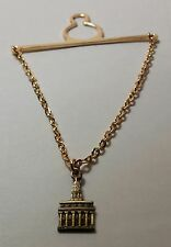 NAUVOO Temple Tie Bar Chain Antique Gold emblem LDS