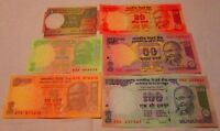 India Notes Gandhi 1 5 10 20 50 100 Rupees 6 Crisp Uncirculated Bank Note new