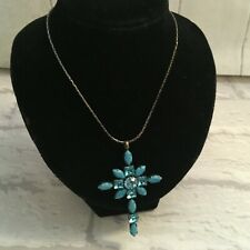 Mikey Aqua Blue Crystal Turquoise Type Cross Holy Religious Pendant Necklace