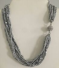 Beautiful Multi Strand Faceted Round Crystal And Seed Bead Rhinestone Necklace