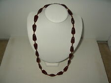 Vintage Estate Honey Brown Amber Venetian Czech Glass Pear Shape Bead Necklace