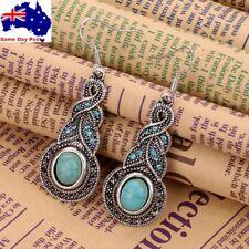 Vintage Women Boho Turquoise Crystal Tibet Silver Hook Dangle Earrings Jewellery