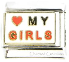 I Love My Girls 9mm Italian Charm Link For Bracelet Daughter Kids Family